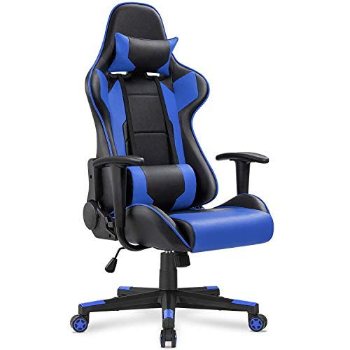 Auwish High Back Gaming Chair | Computer Desk Office Chairs PC Racing Gamer Seat | Ergonomic Adjustable Executive Swivel Task Chair with Headrest and Lumbar Support (Blue) Armchairs Décor Dining Features Furniture Kids Kitchen Storage