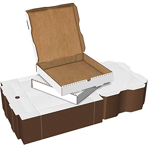 White Cardboard Pizza Boxes, Takeout Containers - 12 x 12 Pizza Box Size, Corrugated, Kraft – 50 Pack