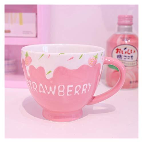 JYDZSW Taza de Agua Taza de la Leche de Fresa para Las niñas Personalizada Cerámica Creativa de la Avena del Yogur de la Avena del Postre Taza de Desayuno Lindo Café de té Taza de Agua