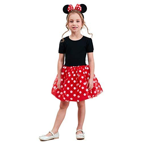 NNJXD Kleinkinder Mädchen Weihnachten Tupfen Geburtstag Kleinkind Prinzessin Tutu Karneval Kleid Größe (130) 5-6 Jahre Rot