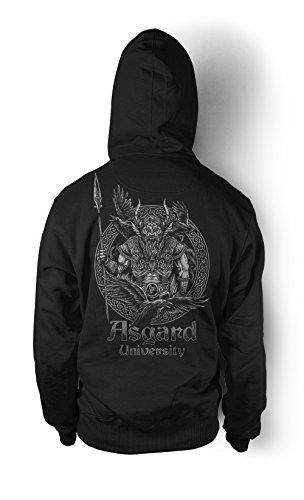 Uglyshirt89 Asgard University Männer und Herren Kapuzenpullover | Odin Wikinger Walhalla Geschenk | M1 FB (Schwarz, XL)