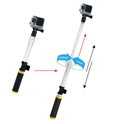 Gopro Extension Pole Waterproof Telescopic Pole, Number-One Transparent Floating Hand Grip, Extendable Monopod Selfie Stick 14-24'' with Mount Clip for GoPro Hero 6/5/4/3 AKASO YI 4K Action Camera