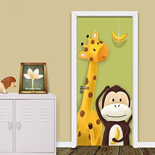 Gzltd Adhesivos para puertas Mono Jirafa 3D Papel pintado PVC Impermeable y a prueba de aceite,adecuado para decoración de puertas sala de estar,dormitorio,cocina y baño 77x200cm
