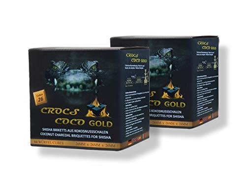 CROCS COCO Gold I Kokosnuss Kohle mit Langer Brenndauer I Grillkohle 26x26mm I wenig Asche I geringer Rauchentwicklung I Nachhaltige Naturkohle I Kohle Würfel in Premium Qualität I 2kg