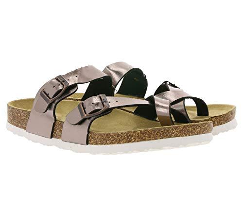 Bio Life Pantolette reizvolle Damen Zehentrenner in Metallic-Optik Sandalen Latschen Sommer-Schuhe Bronze, Größe:38