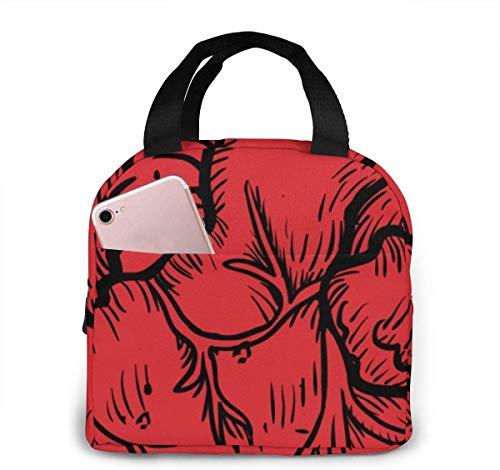 Bolsa de almuerzo con corazón anatómico para mujeres,niñas,niños,bolsa de picnic aislada,bolsa gourmet,bolsa cálida para el trabajo escolar,oficina,camping,viajes,pesca