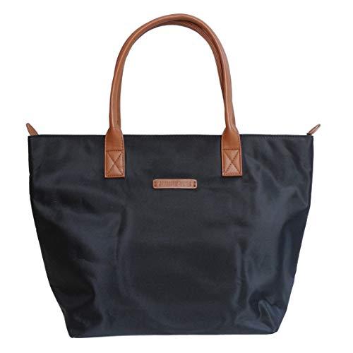 Damen Shopper von Jennifer Jones - sehr leichteHandtasche Schultertasche Tragetasche Damentasche (Schwarz - Cognac) - präsentiert von ZMOKA®