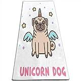 Womens Yoga Mats Funny Unicorn Dog Non Slip 1/2 inch Extra Thick Yoga Exercise Mat Eco Large