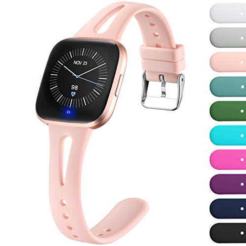 Ouwegaga Compatible with Fitbit Versa 2 Bands for Women Men Versa Lite Bands Pink Sand Small