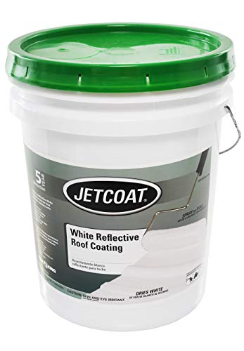 Jetcoat Cool King Reflective Acrylic Roof Coating, Waterproof Elastomeric Sealant, 5 Gallon, 5 Year Protection (White)