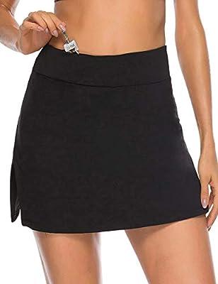 JOYMODE Women's Golf Pleated Flat Skort with Inner Pockets Running Active Shorts