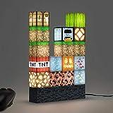 LáMpara LáMpara de Mesa Luz de Noche Min-Ecraft Pixel Cuadrado Mosaico LáMpara de Mesa LáMpara de Mesa Creativa se Puede Empalmar Libremente Mi Mundo LáMpara de Juguete Diy