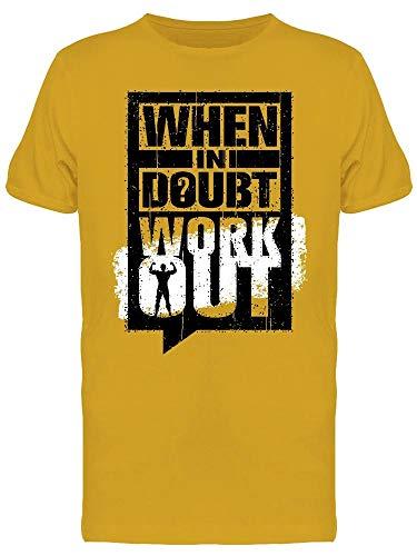 Camiseta masculina When In Doubt Workout, Dourado, XXG