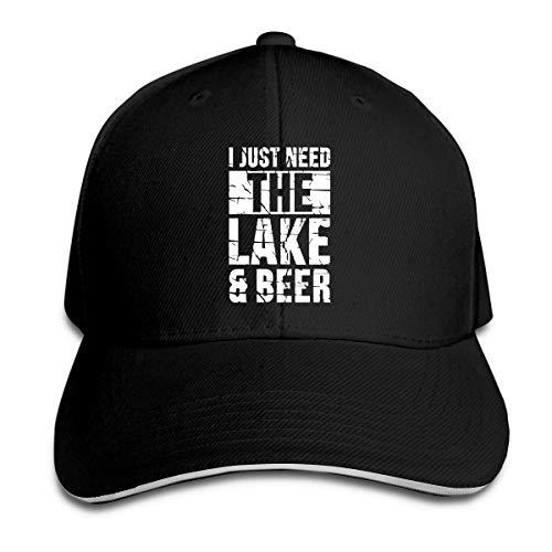 Unisex Solo necesito el lago y la cerveza Gorras de béisbol Sandwich ajustable Bill Gorras de pico Sombrero de deporte al aire libre