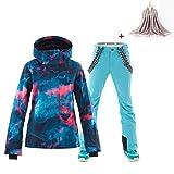 Damen 2 Teilig Skianzug Wasserdicht Schneeanzug Jacke und Hosen Skiset