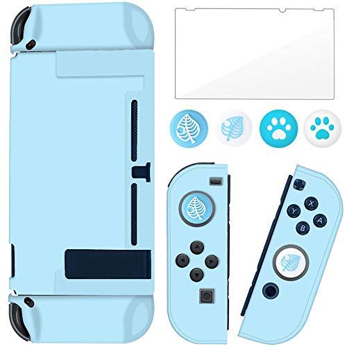 BRHE - Custodia con interruttore agganciabile per Nintendo Switch Joy-Con, con proteggi schermo in vetro, anti-graffio, impugnatura per assorbimento degli urti, colore: Blu