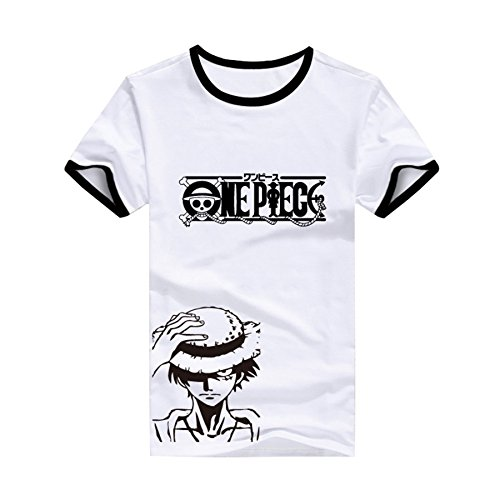 Pulle-A Anime Cosplay ONE Piece Monkey D Luffy Straw Hat Costume Adult T-Shirt BlackBorder White AsianXXL(L)