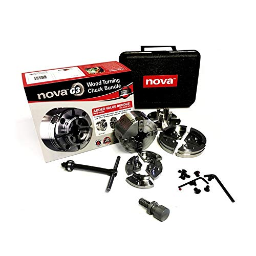 Nova TK-48246 Direct Thread 1 Inch Small Wood Turning Chuck Bundle Set with Automatic Jaw Safety Stop and Copper Impregnated Jaw Slides, Reversible