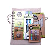 Recycled Sustainable Materials Green Eco Friendly School Supplies Kit - 24 Colored Pencils Pens Erasers Sharpener and Stone Paper Notebook - with a Natural Burlap Carry Bag