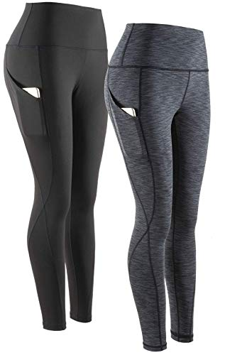 COSCOOL Pantalon de yoga pour femme avec poches, taille haute, contrôle du ventre, entraînement, course à pied, yoga L Noir + anthracite.