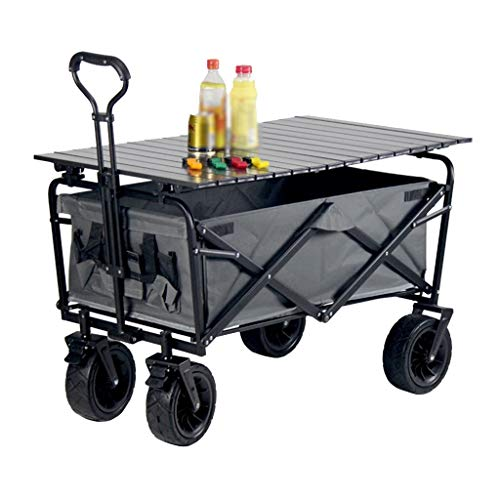 GLJ Outdoor Folding Utility Wagon Outdoor Pull Wagon with Table, All Terrain Camping Transport, Utility Truck with Brakes for Shopping Gardening, 5 Colors (Color : Style 5)