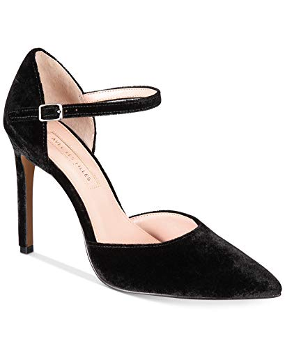 Avec Les Filles Womens Carly Pointed Toe Ankle Strap, Black Velvet, Size 10.0