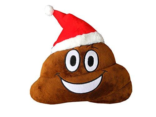 haufi® Santa Coussin avec bonnet de Père Noël Xmas Smiley kackh aufen | Poop émoticône Gadget Jouet Peluche