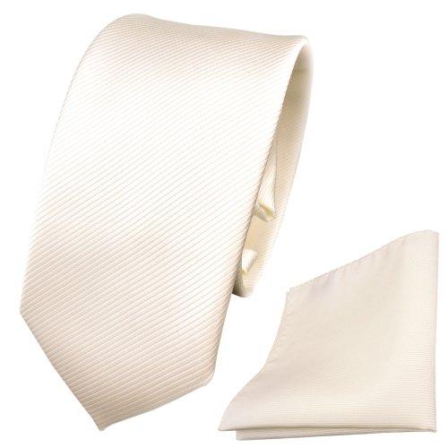 TigerTie Schmale Designer Krawatte + Einstecktuch weiß perlweiß creme cremeweiß Uni Rips - Binder Tuch