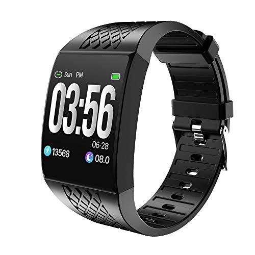 Relógio inteligente AxiBa para homens e mulheres, relógio com monitor de frequência cardíaca, medidor de oxigênio no sangue, IP68 à prova d'água, Preto