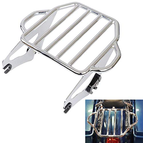 AUFER Chrome Detachable Adjustable Two Up Tour Pak Luggage Rack Mounting Fits For Touring Electra Glide Road King Street 2009-2019