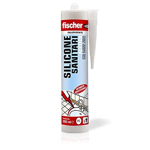 Fischer SAS Trasparente, Silicone Sigillante Antimuffa interno esterno a Base Acetica per Ambienti Sanitari come Bagno, Doccia, Ceramica, 9362