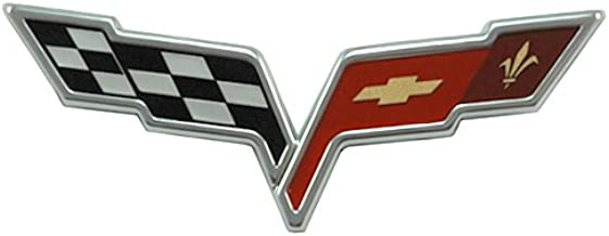 2PCS Set Black Red Cross Flag Car Front /& Rear Tailgate Badge Emblem Sticker Decal for Corvette C7 2014-2019