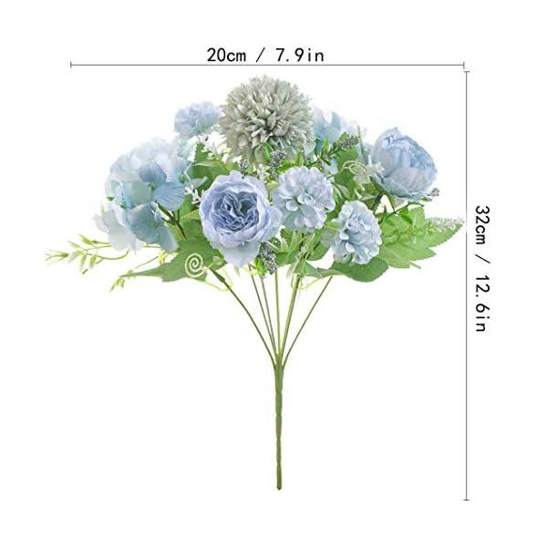 Kokmn 2 piezas flores artificiales, peonía falsa seda hortensia ramo decoración plásticos claveles arreglos florales…