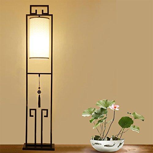 Lámpara de pie Lámpara de pie moderna moderna de la tela del patrón de la nube del estilo chino, lámpara vertical antigua creativa, lámpara de piso simple del dormitorio de la sala de estudio del estu
