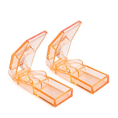 Ultrassist 2 Pack Pill Cutters, High Transparent Pill Splitter for Small or Large Pills, Best Tablet Cutter with Strong Hinge, Orange Colors