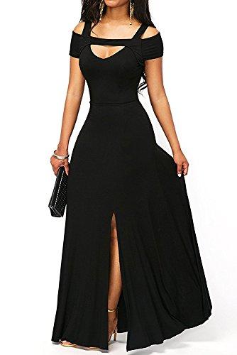 TOUVIE Damen Elegant Langes Abendkleid V-Ausschnitt Ballkleider Cocktailkleider Schwarz S