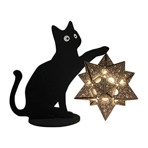 OSALADI Lámpara LED de Papel de Gato de Noche Creativa Kitty 3D Lámpara de Noche Adorno de Iluminación de Escritorio para La Decoración de La Habitación del Cuarto de Niños