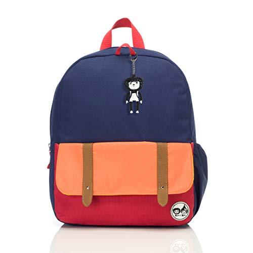 Blue Colour Block Kids Children Junior Backpack Rucksack Schoolbag Girl Boy