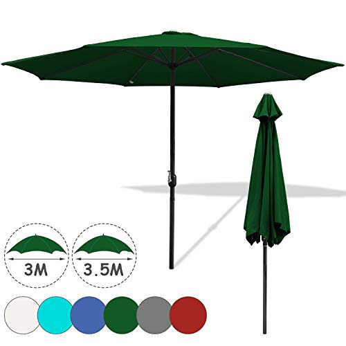 Hengda 3.5m Rund Sonnenschirm Ampelschirm Wasserabweisende UV30+ UV-Schutz Gartenschirm Farbwahl mit Handkurbel Marktschirm für Balkon, Terrasse & Garten