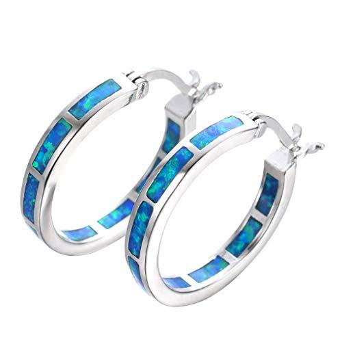 Qirun Pendientes de aro de ópalo Azul chapados en Plata 925 hipoalergénicos para Mujer