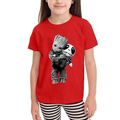 Groot Hugs Jack Skellington Camisetas gráficas para niñas Adolescentes, niños y niñas, Camiseta de Manga Corta, Camisetas de algodón, Camisetas para niños