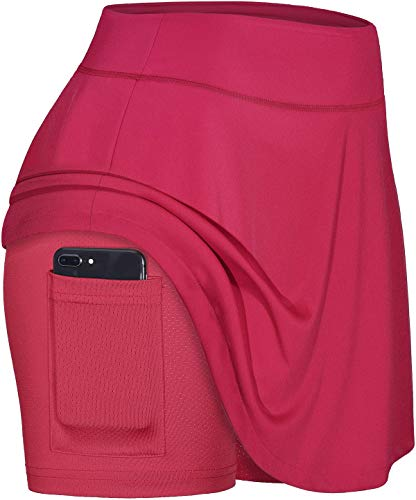 Blevonh Casual Skirts for Women,Red Tennis Skirt Ladies Elastic Waist Comfortable Active Skorts with Pocket Womens Golf Apparel M