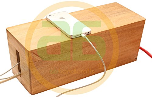 2020 - abhandicrafts 13x5 Inches Wooden Magnetic Cable Organizer, Desktop Cord Management Box, Large Storage Holder for Desk, TV, Computer, USB Hub, Cover and Hide Power Strips & Cords