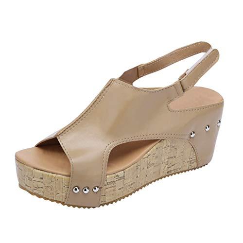 Sandalias Mujer Cuña Alpargatas Plataforma de Tacón Alto Flip Flop Verano Elegante Zapatos Zapatillas Romanas Gladiador Mares Playa Negro Beige 34-43