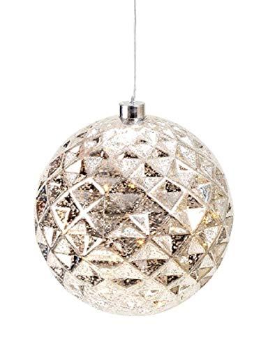 Weihnachtskugel LED leuchtend silber Ø 20 cm hängend Leuchtkugel