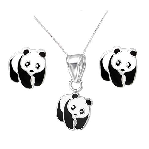 SL-Silver - Set collana e orecchini da bambina a forma di panda, in argento sterling 925, in confezione regalo