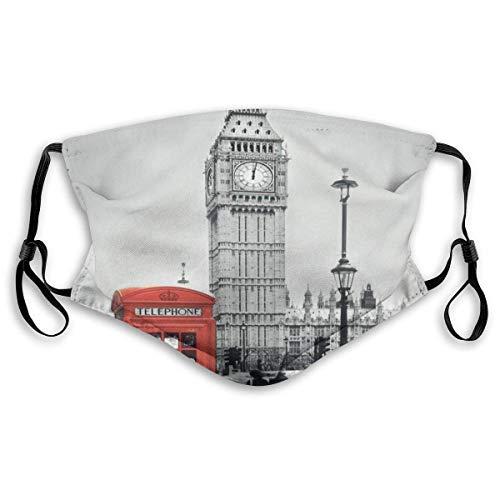Berühmte Telefonzelle und der Big Ben in England Street View Symbole der Stadt Retro Filtering Face Cover