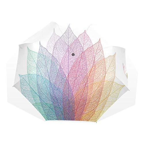 LASINSU Mini Ombrello Portatile Pieghevoli Ombrello Tascabile,Stampa artistica di foglie delicate astratte,Antivento Leggero Ombrello per Donna