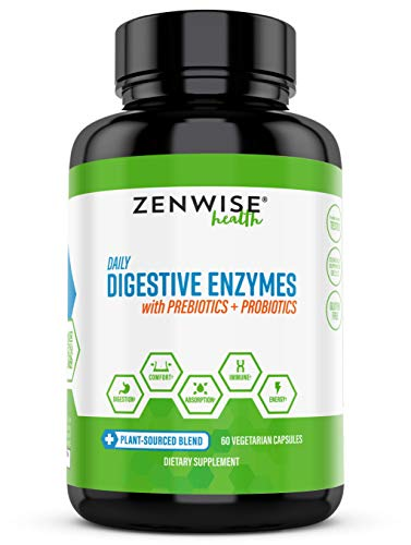 Zenwise Health Digestive Enzymes Plus Prebiotics & Probiotics Supplement, Vegan Formula for Better Digestion & Lactose Absorption with Amylase & Bromelain, 60 Count