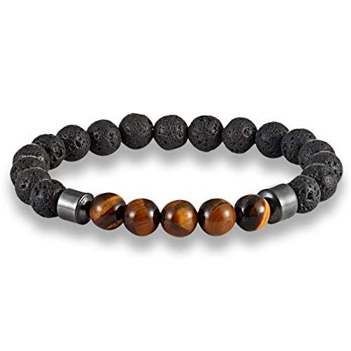 YIYYI Armband 2 stuks/set wit zwart steen parels paar armbanden hematiet vulkaansteen mannen parel armband sieraden